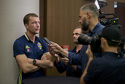 August 28, 2017 - Sofia, BULGARIEN - 170828 Swedish player Jakob Johansson meets media at a Mixed Zone arranged by The Swedish Football Association 28 August 2017 in Sofia, Bulgaria. Sweden is preparing for the upcoming World Cup qualifying game between Bulgaria and Sweden on 31 August  (Credit Image: © Nikolay Doychinov/Bildbyran via ZUMA Wire)