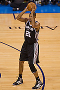 June 2, 2012; Oklahoma City, OK, USA; San Antonio Spurs forward Tim Duncan (21) looks to make a pass during a playoff game against the Oklahoma City Thunder at Chesapeake Energy Arena.  Thunder defeated the Spurs 109-103 Mandatory Credit: Beth Hall-US PRESSWIRE