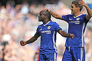 GOAL - Victor Moses of Chelsea celebrates as he scores his sides 3rd goal with Marcos Alonso of Chelsea. Premier league match, Chelsea v Leicester city at Stamford Bridge in London on Saturday 15th October 2016.<br /> pic by John Patrick Fletcher, Andrew Orchard sports photography.