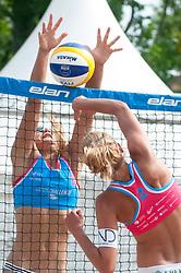 Katarina Fabjan vs Nina Lovsin at Beach Volleyball Challenge Ljubljana 2014, on August 1, 2014 in Kongresni trg, Ljubljana, Slovenia. Photo by Matic Klansek Velej / Sportida.com