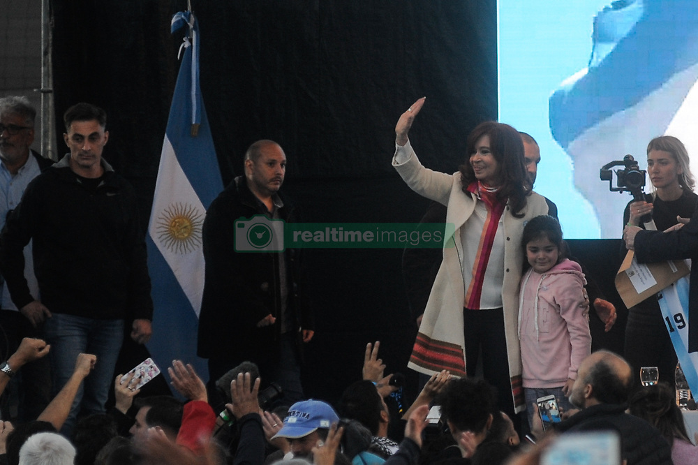 May 25, 2019 - Buenos Aires, Argentina - Former President Cristina Fernandez, who is running as a presidential candidate running mate, speaks during a campaign rally, in Buenos Aires, Argentina, Saturday, May 25, 2019. After her surprise announcement last week that she will run for vice president in October's general elections, Cristina Fernandez along with her running mate presidential candidate contender Alberto Fernandez, kicked off their campaign with a political rally on the outskirts of Buenos Aires on Saturday. (Credit Image: © Gabriel Sotelo/NurPhoto via ZUMA Press)