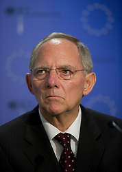 Wolfgang Schaeuble, Germany's finance minister, listens during a press conference following the first meeting of the Van Rompuy task force on economic governance, in Brussels, Belgium, on Friday, May 21, 2010. (Photo © Jock Fistick)