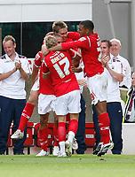 Photo: Steve Bond/Richard Lane Photography.<br />Nottingham Forest v Watford. Coca-Cola Football League Championship. 23/08/2008. Nathan Tyson (centre) celebrates the Forest winner