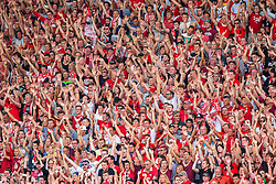 09.08.2015, Stadion Essen, Essen, GER, DFB Pokal, Rot Weiss Essen vs Fortuna Duesseldorf, 1. Runde, im Bild Fans von Rot-Weiss Essen // during German DFB Pokal first round match between Rot Weiss Essen and Fortuna Duesseldorf at the Stadion Essen in Essen, Germany on 2015/08/09. EXPA Pictures © 2015, PhotoCredit: EXPA/ Eibner-Pressefoto/ Hommes<br /> <br /> *****ATTENTION - OUT of GER*****