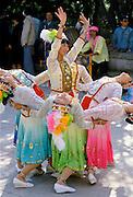 Chinese women performing dance display at Kunming, China
