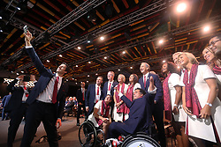 LIMA, Sept. 14, 2017  Members of Paris 2024 pose for photo before the presentation and announcement ceremony of the 2024 and 2028 Summer Olympic Games at the 131st IOC session in Lima, Peru, on Sept. 13, 2017. The IOC makes historic decision by simultaneously awarding Olympic Games 2024 to Paris and 2028 to Los Angeles on wednesday. (Credit Image: © Li Ming/Xinhua via ZUMA Wire)