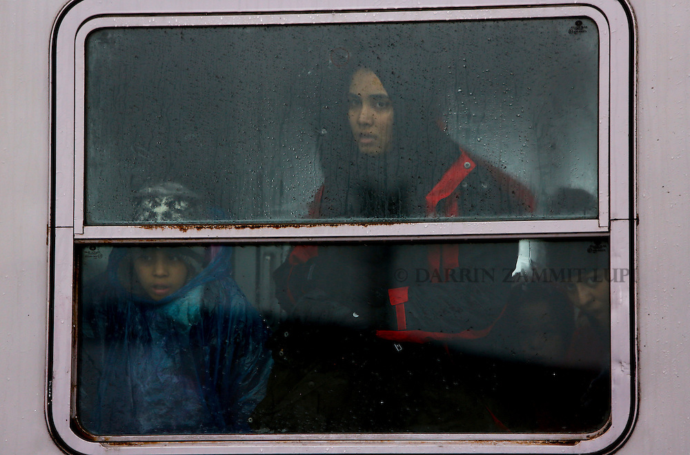 Migrants and refugees wait for their train to depart to Slovenia on their journey into western Europe at a refugee transit camp in Slavonski Brod, Croatia, February 10, 2016.<br /> Photo: Darrin Zammit Lupi