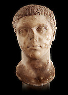 Roman sculpture of the Emperor Caracalla, excavated from Thuburbo-Majus, sculpted circa 211-217AD. The Bardo National Museum, Tunis, Inv No: C. 1347.  Against a black background. .<br /> <br /> If you prefer to buy from our ALAMY STOCK LIBRARY page at https://www.alamy.com/portfolio/paul-williams-funkystock/greco-roman-sculptures.html . Type -    BARDO    - into LOWER SEARCH WITHIN GALLERY box - Refine search by adding a subject, place, background colour, museum etc.<br /> <br /> Visit our CLASSICAL WORLD HISTORIC SITES PHOTO COLLECTIONS for more photos to download or buy as wall art prints https://funkystock.photoshelter.com/gallery-collection/The-Romans-Art-Artefacts-Antiquities-Historic-Sites-Pictures-Images/C0000r2uLJJo9_s0c
