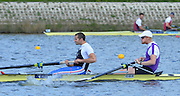 Reading. United Kingdom.  GBR M2-.  Bow. Oliver COOK and James FOAD, in the opening strokes of the morning time trial. 2014 Senior GB Rowing Trails, Redgrave and Pinsent Rowing Lake. Caversham.<br /> <br /> 11:07:55  Saturday  19/04/2014<br /> <br />  [Mandatory Credit: Peter Spurrier/Intersport<br /> Images]