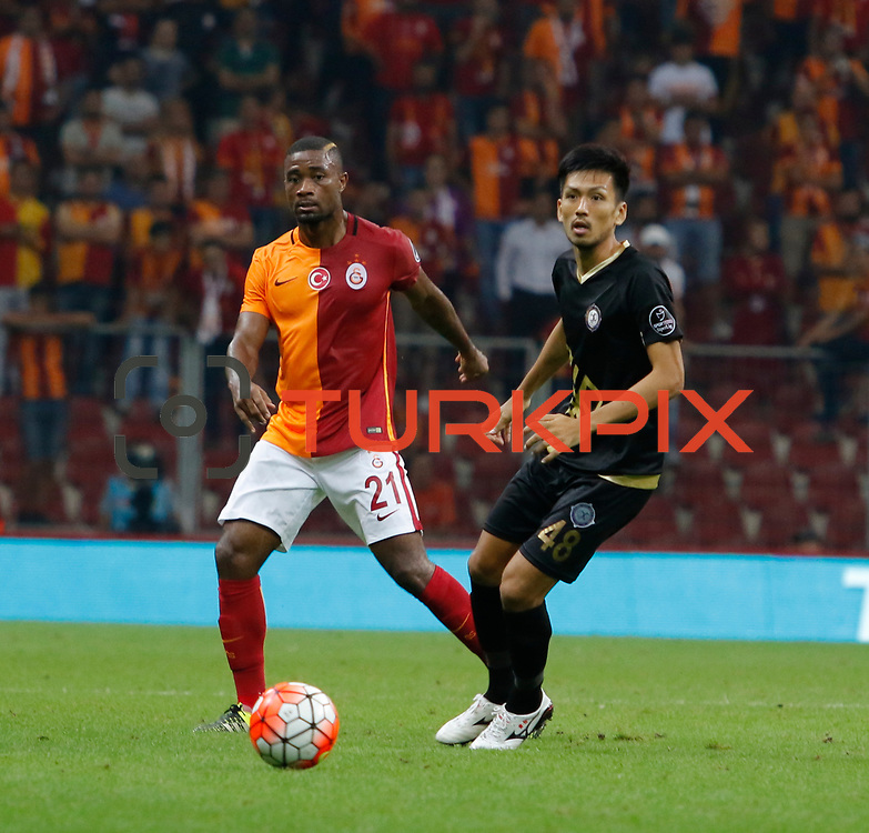 Galatasaray's and Osmanlispor's Takayuki Seto during their Turkish Super League soccer match Galatasaray between Osmanlispor at the AliSamiYen Spor Kompleksi TT Arena at Seyrantepe in Istanbul Turkey on Monday, 24 August 2015. Photo by Aykut AKICI/TURKPIX