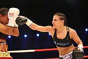Boxen: WBA-World Championship, Flytweight, Dortmund, 06.07.2013<br /> Susi Kentikian (GER, r.) - Carina Moreno (USA)<br /> ©Torsten Helmke