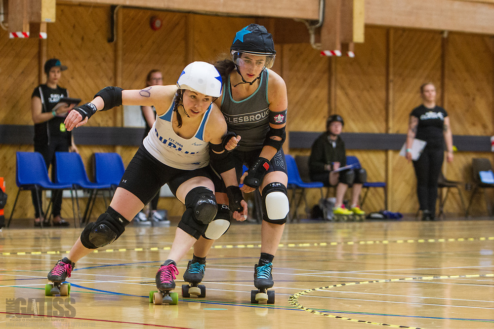 Dublin Roller Derby take on Middlesbrough Roller Derby on day 2 of  Euro Clash 2018 at the Walker Activity Dome, Newcastle Upon Tyne, United Kingdom, 2018-05-20