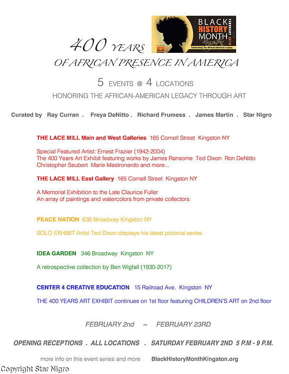 Co-Curated Black History Exhibition @ Lacemill & CCE in Kingston, NY blackhistorymonthkingston.org