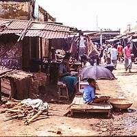 Back street bazar in Dhaka, Bangladesh, 1977.