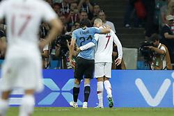 (L-R) Edinson Cavani of Uruguay, Cristiano Ronaldo of Portugal during the 2018 FIFA World Cup Russia round of 16 match between Uruguay and at the Fisht Stadium on June 30, 2018 in Sochi, Russia