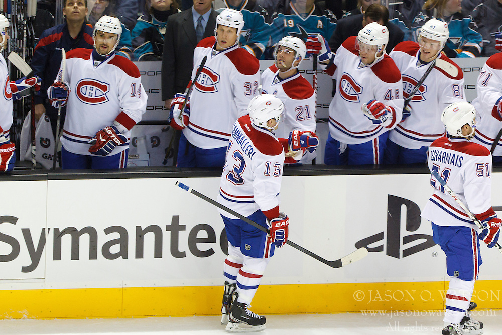 Dec 1, 2011; San Jose, CA, USA; Montreal Canadiens left wing Mike Cammalleri (13) celebrates with teammates after scoring a goal against the San Jose Sharks during the first period at HP Pavilion.  Mandatory Credit: Jason O. Watson-US PRESSWIRE