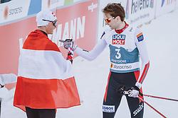 04.03.2021, Oberstdorf, GER, FIS Weltmeisterschaften Ski Nordisch, Oberstdorf 2021, Herren, Nordische Kombination, Einzelbewerb, Langlauf, im Bild v.l.: Johannes Lamparter (AUT), Jarl Magnus Riiber (NOR) // f.l.: Johannes Lamparter of Austria Jarl Magnus Riiber of Norway during the Cross Country Competition of men Nordic combined Single of FIS Nordic Ski World Championships 2021 in Oberstdorf, Germany on 2021/03/04. EXPA Pictures © 2021, PhotoCredit: EXPA/ Dominik Angerer