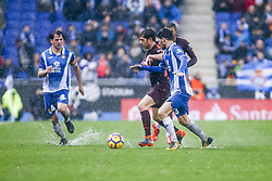 February 4, 2018 - Barcelona, Catalonia, Spain - FC Barcelona midfielder Sergi Roberto (20) during the match between RCD Espanyol vs FC Barcelona, for the round 22 of the Liga Santander, played at Cornella -El Prat Stadium on 4th February 2018 in Barcelona, Spain. (Credit Image: © Urbanandsport/NurPhoto via ZUMA Press)