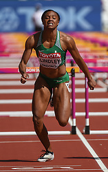 August 11, 2017 - London, England, United Kingdom - Lindsay Lindley of Nigeria compete in the heats of 100 meter hurdles in London at the 2017 IAAF World Championships athletics at the London Stadium in London on August 11, 2017. (Credit Image: © Ulrik Pedersen/NurPhoto via ZUMA Press)