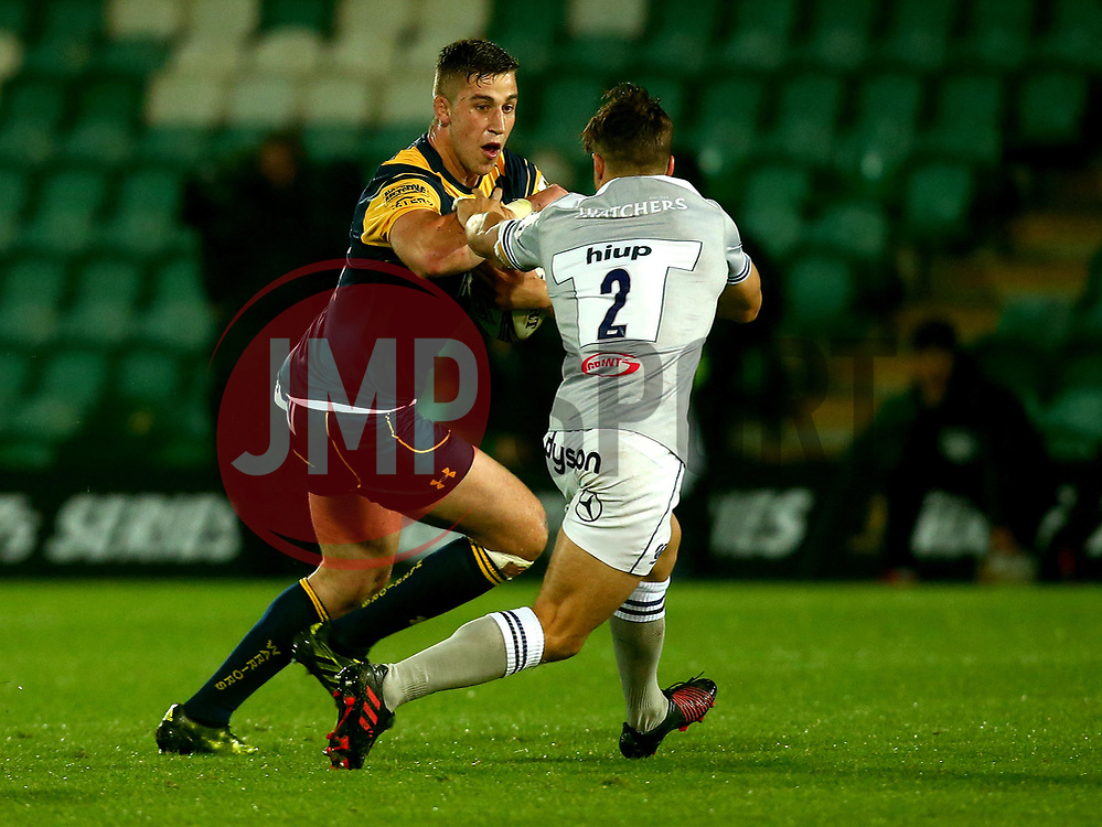 Huw Taylor of Worcester Warriors hands off Jordan Ainslie of Bath Rugby - Mandatory by-line: Robbie Stephenson/JMP - 28/07/2017 - RUGBY - Franklin's Gardens - Northampton, England - Worcester Warriors v Bath Rugby - Singha Premiership Rugby 7s