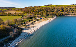 Aerial view from drone of Siversands Beach in Aberdour, Fife , Scotland, UK