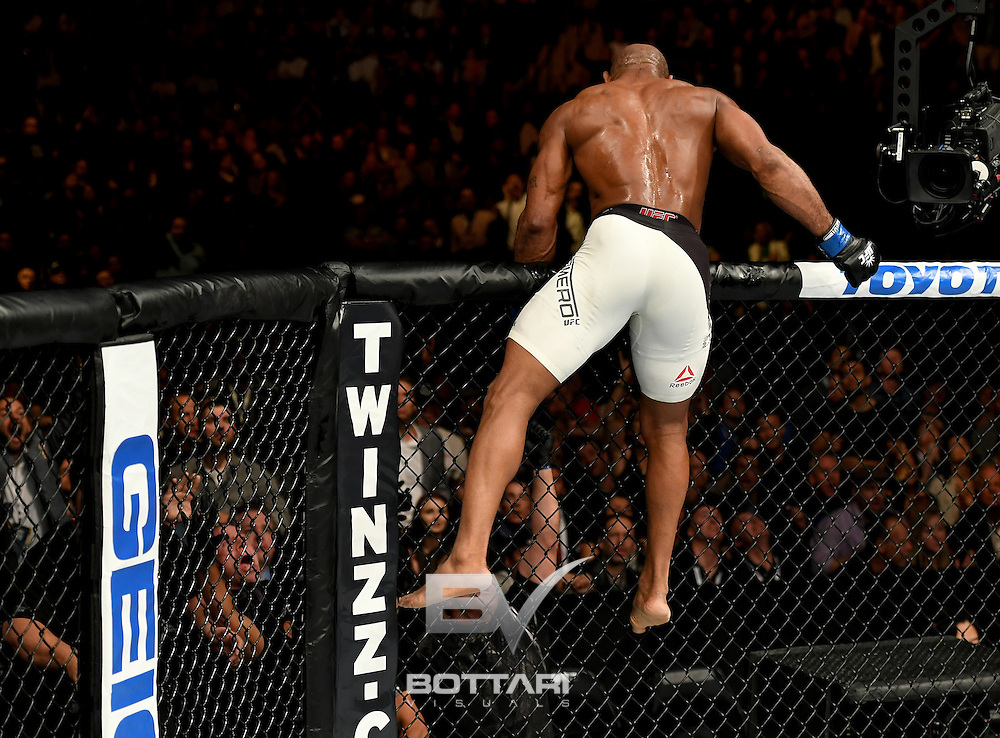 NEW YORK, NY - NOVEMBER 12: Yoel Romero of Cuba leaps over the cage after his KO victory over Chris Weidman of the United States (not pictured) in their middleweight bout during the UFC 205 event at Madison Square Garden on November 12, 2016 in New York City.  (Photo by Jeff Bottari/Zuffa LLC/Zuffa LLC via Getty Images)