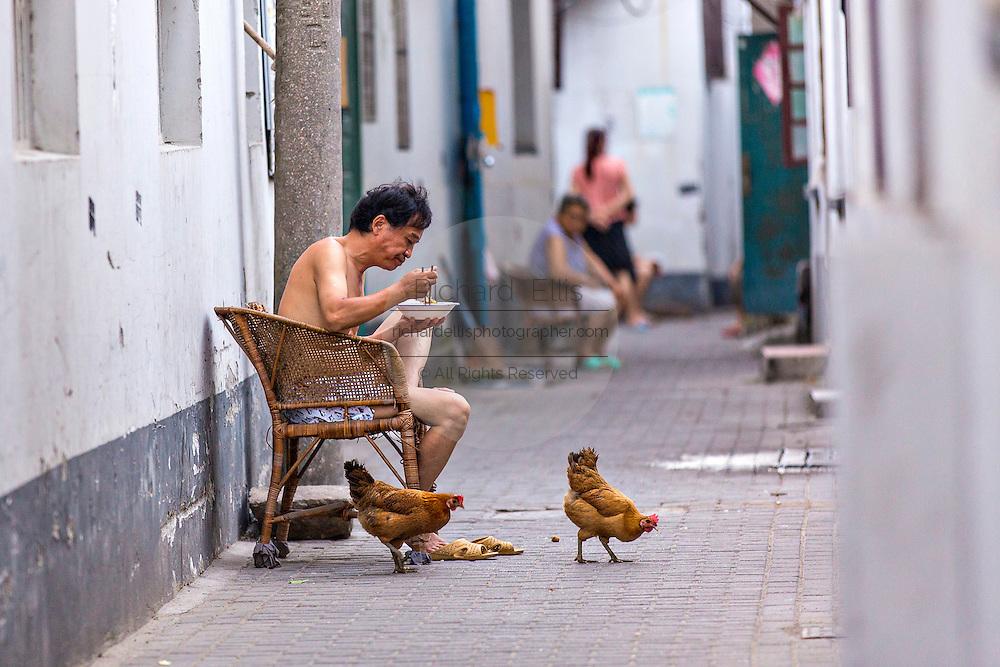 Man and chickens along an alley along Shantang canal in Suzhou, China.