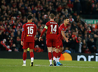 Football - 2019 / 2020 UEFA Champions League - Group E: Liverpool vs. Napoli<br /> <br /> Dejan Lovren of Liverpool celebrates with Jordan Henderson after scoring the equaliser to make it 1-1, at Anfield.<br /> <br /> COLORSPORT/ALAN MARTIN