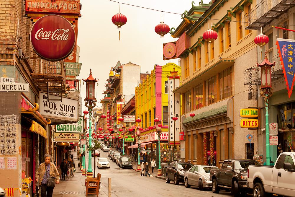 San Francisco, California, United States - A view of Grant Avenue at Chinatown in San Francisco, California.