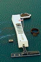 Aerial view of the USS Arizona Memorial, Pearl Harbor, Honolulu, Oahu, Hawaii, USA