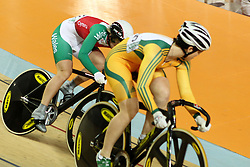 Anna Meares of Australia leads Becky Jones of Wales during the women's sprint final held at the velodrome at the Indira Gandhi Sports Complex in New Delhi, India on the 7 October 2010..Photo by:  Ron Gaunt/SPORTZPICS/PHOTOSPORT