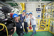 Mcc0084404 . Daily Telegraph<br /> <br /> Aeolus Satellite Launch<br /> <br /> A French TV crew pose for a video selfie with the Vega rocket fuelled and ready to launch with it's Aeolus Satellite payload at the European Space Centre in French Guiana  . <br /> The Aeolus Satellite, designed and built by Airbus contains pioneering technology that will monitor winds around the globe that will change weather forecasting forever .<br /> <br /> Kourou, French Guiana 21 August 2018