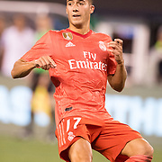 MEADOWLANDS, NEW JERSEY- August 7:  Lucas Vazquez #17 of Real Madrid in action during the Real Madrid vs AS Roma International Champions Cup match at MetLife Stadium on August 7, 2018 in Meadowlands, New Jersey. (Photo by Tim Clayton/Corbis via Getty Images)