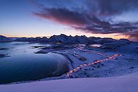 Winter view over Ytresand beach, Moskenesøy, Lofoten Islands, Norway