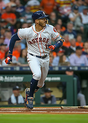 April 30, 2018 - Houston, TX, U.S. - HOUSTON, TX - APRIL 30:  Houston Astros shortstop Carlos Correa (1) sprints to first base during the baseball game between the New York Yankees and Houston Astros on April 30, 2018 at Minute Maid Park in Houston, Texas.  (Photo by Leslie Plaza Johnson/Icon Sportswire) (Credit Image: © Leslie Plaza Johnson/Icon SMI via ZUMA Press)