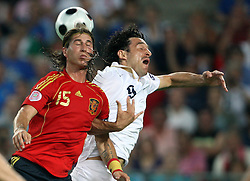 Sergio Ramos of Spain vs Luca Toni of Italy during the UEFA EURO 2008 Quarter-Final soccer match between Spain and Italy at Ernst-Happel Stadium, on June 22,2008, in Wien, Austria.  (Photo by Vid Ponikvar / Sportal Images)
