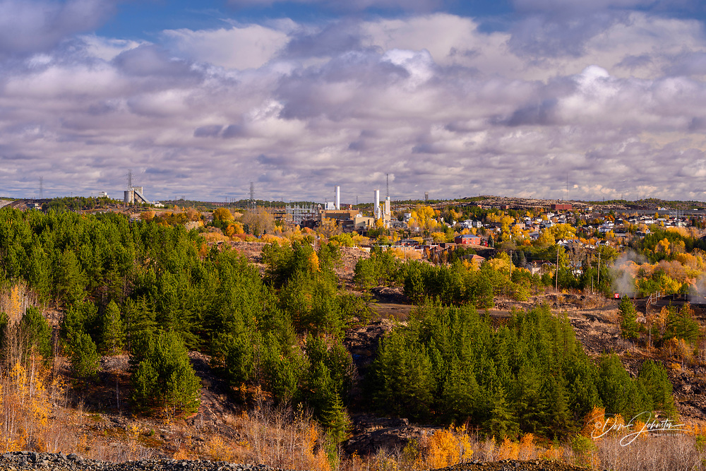 Town of Copper Cliff with Vale operations in the background, Greater Sudbury- Copper Cliff. Vale Central Tailings Facility, Ontario, Canada