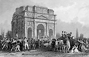 French Revolution. Guillotine set up under the Arch of Marius at Orange, on the Rhone, during the Reign of Terror. Engraving.
