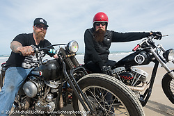 Bill Dodge (L) with Jim Root from the Band Slipknot, both on Bill's Blings Cycles bikes, on Daytona Beach during Daytona Bike Week 75th Anniversary event. FL, USA. Thursday March 3, 2016.  Photography ©2016 Michael Lichter.
