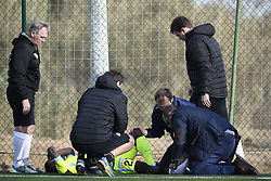 January 9, 2018 - Oliva, SPAIN - Gent's Moses Simon lies injured on the ground during a friendly soccer match between Belgian first division club KAA Gent and German Second Bundesliga team 1. FC Nurnberg, on day five of Gent's winter training camp in Oliva, Spain, Tuesday 09 January 2018...BELGA PHOTO JASPER JACOBS (Credit Image: © Jasper Jacobs/Belga via ZUMA Press)