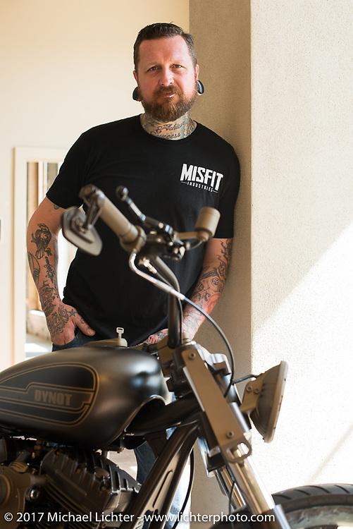 Custom bike builder and In Motion Bike Show participant Chris Moos of Misfit Industries at the Lone Star Rally. Galveston, TX. USA. Sunday November 5, 2017. Photography ©2017 Michael Lichter.