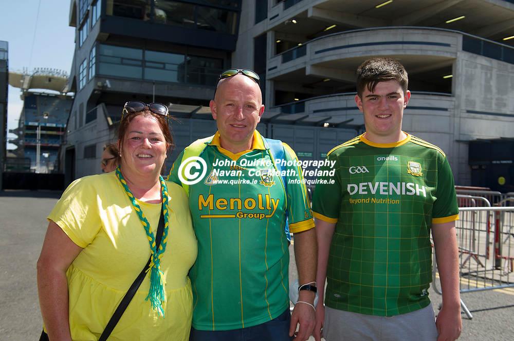 18-07-21. Meath v Dublin - Leinster SFC Semi-Final at Croke Park.<br /> Meath supporters from left, Michelle, Gerry and Alex McKeever, Kilberry, Navan were in Croke Park supporting Meath in Leinster SFC Semi-Final.<br /> Photo: John Quirke / www.quirke.ie<br /> ©John Quirke Photography, 16 Proudstown Road, Navan. Co. Meath. (info@quirke.ie / 046-9028461 / 087-2579454).