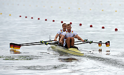 Germany's Stephan Riemekasten and Max Appel in the Men's Double Sculls heat two during day one of the 2018 European Championships at the Strathclyde Country Park, North Lanarkshire