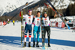 January 28, 2018 - Goms, SWITZERLAND - 180128 JÂ¿rgen Lippert of Norway, Tom Mancini of France and Valerio Grond of Switzerland after the men's sprint free technique final during the FIS Nordic Junior World Ski Championships on January 28, 2018 in Obergoms..Photo: Vegard Wivestad GrÂ¿tt / BILDBYRN / kod VG / 170084 (Credit Image: © Vegard Wivestad Gr¯Tt/Bildbyran via ZUMA Press)