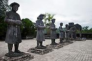Stone mandarin honor guards at Khai Dinh Tomb, Hue, Vietnam, Southeast Asia