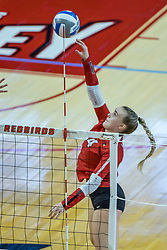 BLOOMINGTON, IL - October 23: Sarah Kushner makes a hit from the outside during a college Women's volleyball match between the ISU Redbirds and the Drake Buldogs on October 23 2021 at Illinois State University in Normal, IL. (Photo by Alan Look)