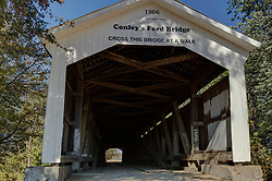 2015 Oct 19:   Parke County Indiana is the site of the Indiana Covered Bridge Festival every October.  This is the Conley's Ford Bridge.  It was built over Big Raccoon Creek on County Road 550 in 1906-07. Built by Vanfossen, the bridge has a 192' span.<br /> <br /> This image was produced in part utilizing High Dynamic Range (HDR) processes.  It should not be used editorially without being listed as an illustration or with a disclaimer.  It may or may not be an accurate representation of the scene as originally photographed and the finished image is the creation of the photographer.