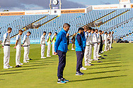 Players from Yorkshire & Leicestershire line up to respect David Capel before the Bob Willis Trophy match between Yorkshire County Cricket Club and Leicestershire County Cricket Club at Emerald Headingley Stadium, Leeds, United Kingdom on 6 September 2020.