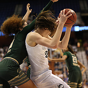 Breanna Stewart, (right), UConn, rebounds while challenged by Laura Ferreira, USF, during the UConn Huskies Vs USF Bulls Basketball Final game at the American Athletic Conference Women's College Basketball Championships 2015 at Mohegan Sun Arena, Uncasville, Connecticut, USA. 9th March 2015. Photo Tim Clayton