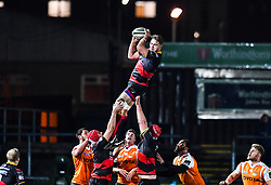 Dragons' Lewis Evans claims the lineout<br /> <br /> Photographer Craig Thomas/Replay Images<br /> <br /> Guinness PRO14 Round 18 - Dragons v Cheetahs - Friday 23rd March 2018 - Rodney Parade - Newport<br /> <br /> World Copyright © Replay Images . All rights reserved. info@replayimages.co.uk - http://replayimages.co.uk